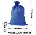 PE odpadový pytel modrý - 700 x 1100 mm, 100 my