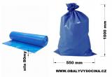 PE odpadový pytel modrý - 550 x 1000 mm, 80 my