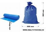 PE odpadový pytel modrý - 600 x 800 mm, 40 my
