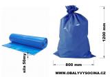 PE odpadový pytel modrý - 800 x 1200 mm, 50 my