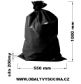PE odpadový pytel černý - 550 x 1000 mm, 200 my