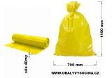 PE odpadový pytel žlutý - 700 x 1100 mm, 40 my