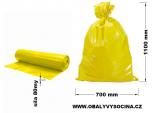 PE odpadový pytel žlutý - 700 x 1100 mm, 80 my
