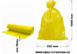 PE odpadový pytel žlutý - 550 x 1000 mm, 50 my