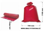 PE odpadový pytel červený - 700 x 1100 mm, 40 my