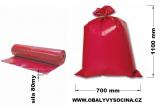 PE odpadový pytel červený - 700 x 1100 mm, 80 my