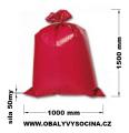PE odpadový pytel červený - 1000 x 1500 / 50 my