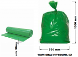 PE odpadový pytel zelený - 550 x 1000 mm, 50 my