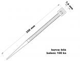 Páska stahovací 7.6x350 100 ks bílá