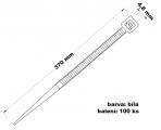 Páska stahovací 4.8x370 100 ks bílá