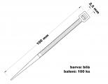 Páska stahovací 2.5x100 100 ks bílá